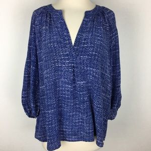 Joie Blue & White Patterned Silk Popover Top Med